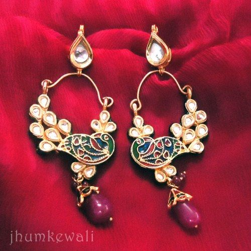 PEACOCK EARRINGS - KUNDAN