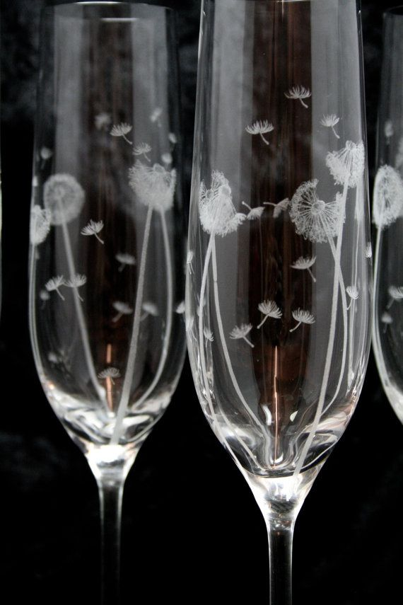 Pair of Dandelion Champagne Glasses by VictoriaLucyDesigns on Etsy