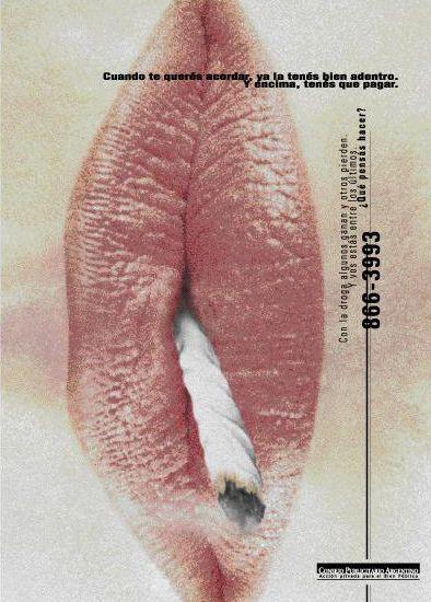 """""""Lucha contra la droga dependencia -labios-"""" 1998"""