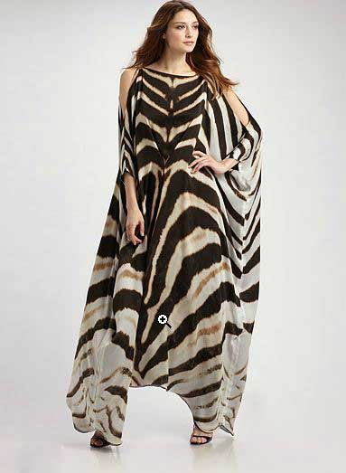 zebra print kaftan - maybe too much zebra but pretty cut.