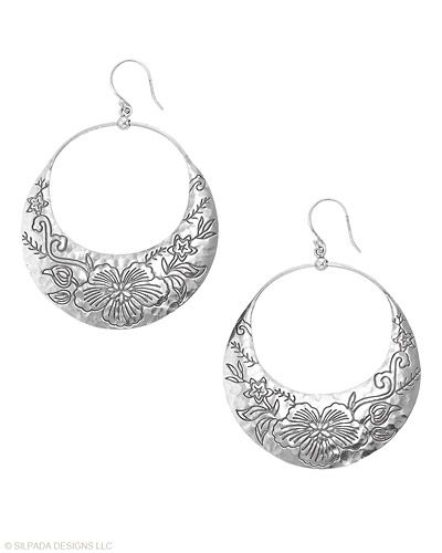 Your confidence will grow by leaps and bounds wearing these Sterling Silver Earrings with floral etchings.