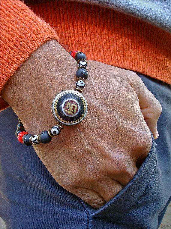 Men's Spiritual Om Aum Bracelet with Semi Precious by tocijewelry
