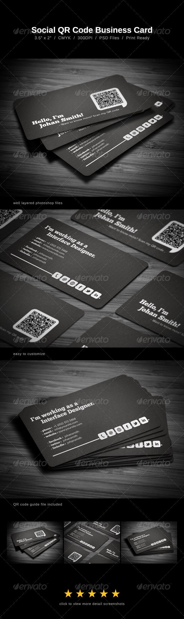 23 best Business Cards with Social Media Contact Information images ...