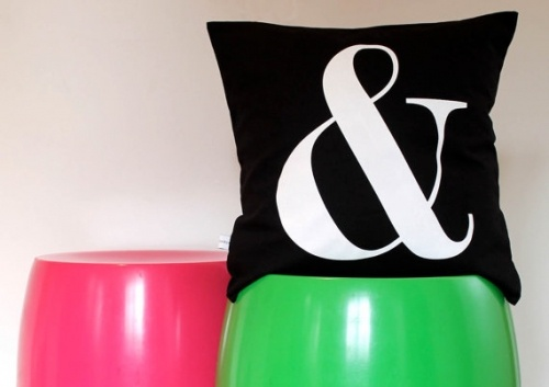 Style: Eleven Awesome Ampersands  RAD! Yes?! Ampersand Cushion by AuntyCookie via Etsy