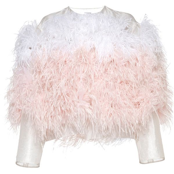 Huishan Zhang     Organza Canetti Jacket ($3,965) ❤ liked on Polyvore featuring outerwear, jackets, pink, ombre jacket, embroidered jacket, pink jacket, organza jacket and huishan zhang