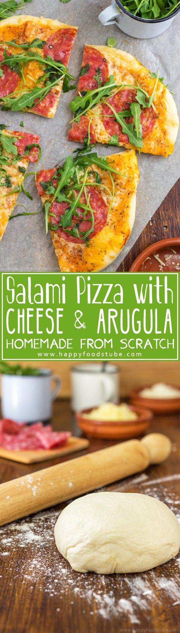 Salami Pizza with Cheese and Arugula Recipe - HappyFoods Tube