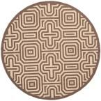 Courtyard Chocolate/Natural (Brown/Natural) 5 ft. 3 in. x 5 ft. 3 in. Indoor/Outdoor Round Area Rug