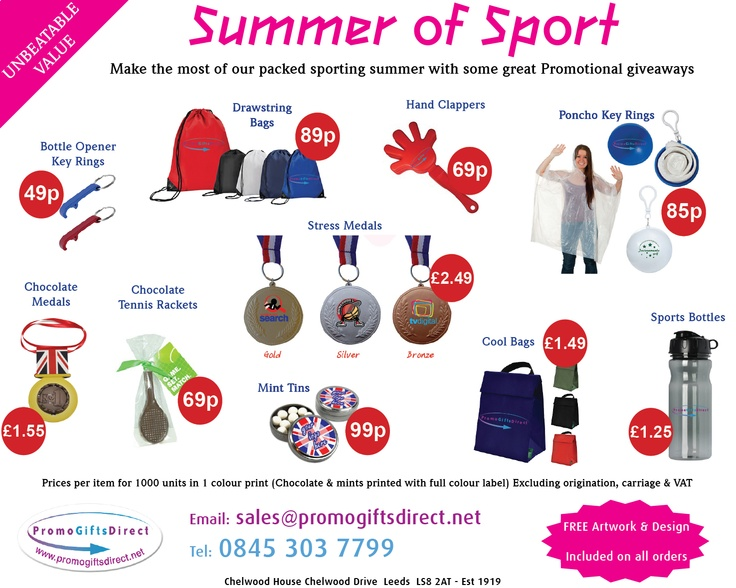 Promotional giveaways for this summers sporting activities: Euros, Olympics, Wimbeldon, British GP, ODI Cricket.