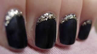 Here is a neat idea for when your nail tips are growing out and you want to extend the life! Put glitter polish in the spot that has grown out!