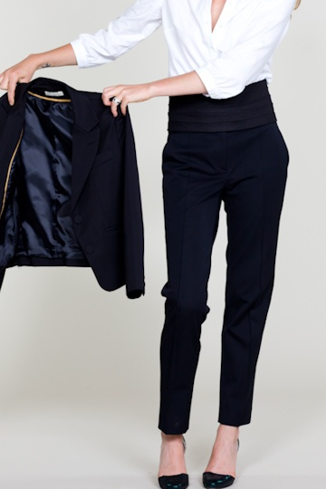 emerson made, black suit jacket & cropped trousers … awesome.