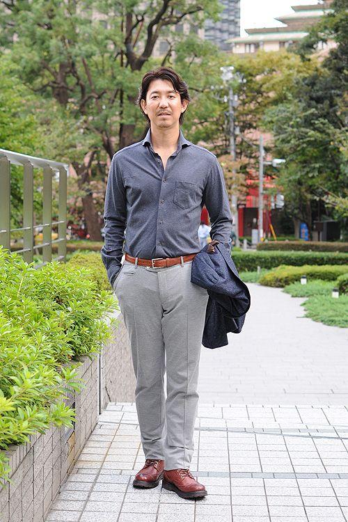 ▼着用しているシャツ ジャージーコットンのフランネル ホリゾンタルカラー ニットシャツ 霜降りブルー 品番8014C-F10A-2 h…