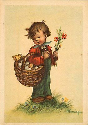 Artist Signed Mariapia Boy Basket of Eggs Chicks Hatching Vintage Postcard