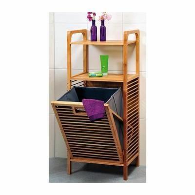 Meuble de rangement avec étagères et panier à linge intégré - Bambou - Meuble de rangement en bambou avec panier à linge inclus dans le bas du meuble.2 étagères supérieures, l… Voir la présentation