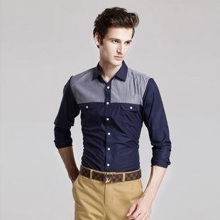 New 2014 Mens Clothes Vintage Fashion Shirt Casual Long Sleeve Slim Fit(China (Mainland))