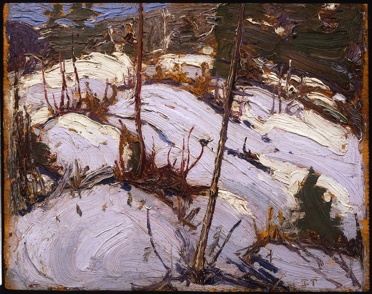 om Thomson Catalogue Raisonné | Winter Hillside, Algonquin Park, Spring 1916