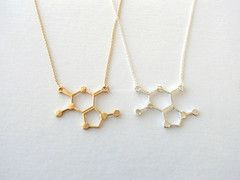 Caffeine Molecule Necklace - Gold & Silver - Unique Science DNA Pendant Necklace