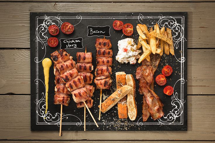 Greek traditional food with chicken #souvlaki, bacon and french fries #p2photography #food #photography