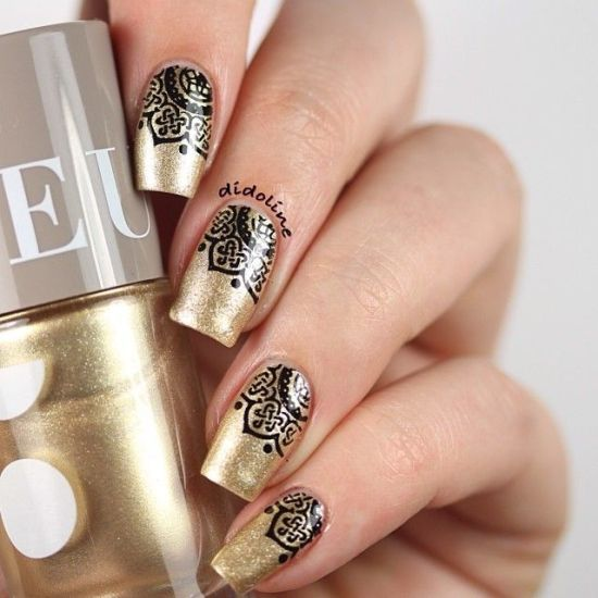 Top 50 Golden Wedding Nail Designs