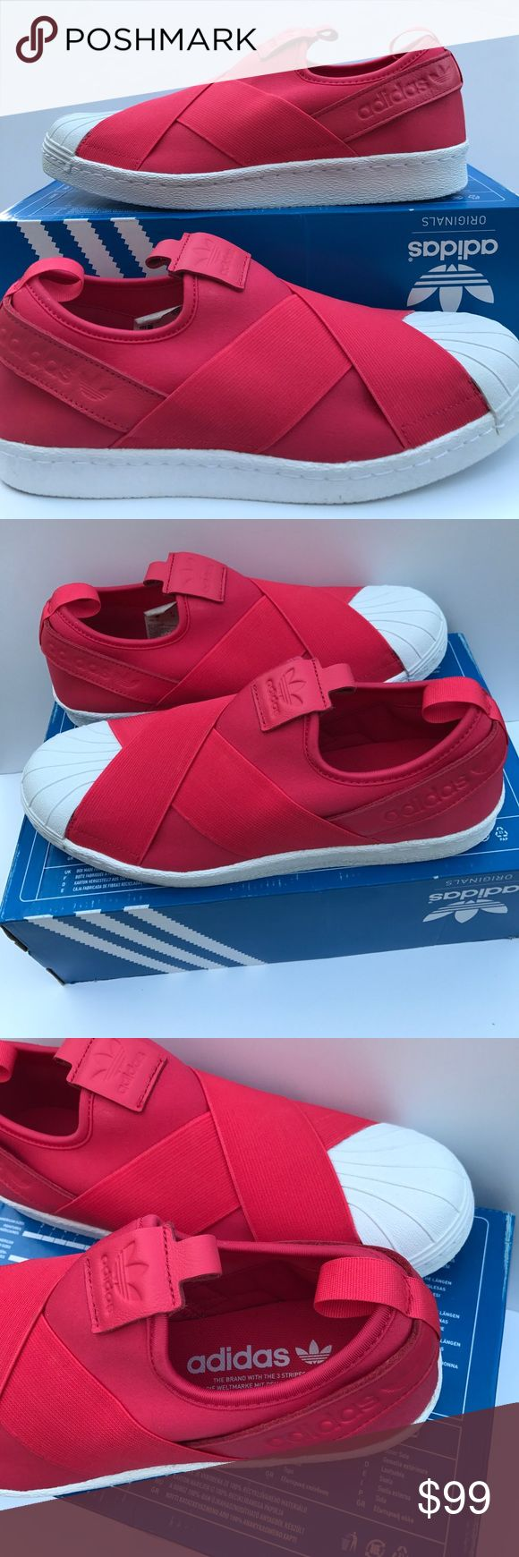 adidas superstar slip on, size 9 adidas shoes new in box - adidas superstar slip ons, corpink/flatwhite || these are highly sought after seen on kylie jenner to j lo / even more stunning in person  adidas Shoes