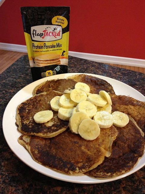 Healthy Food Find! This FlapJacked Protein Pancake Mix makes a delish, filling breakfast meal. You get 3 satisfying pancakes for just 200 calories and a whopping 16 grams of protein. Enjoy plain or top with some yummy fruit :–)