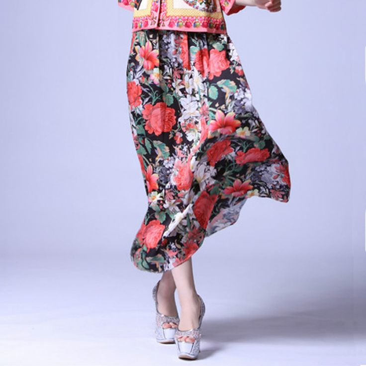 ==> [Free Shipping] Buy Best Hot Sale New New 2016 Summer Flower Printed Elastic Waist Ankle-Length Skirt & Cultivate Morality Famous Star Long Skirts Online with LOWEST Price   1836469176