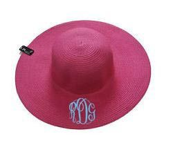 Monogram Floppy Sun Hat - Solid Pink Simply Southern Monograms