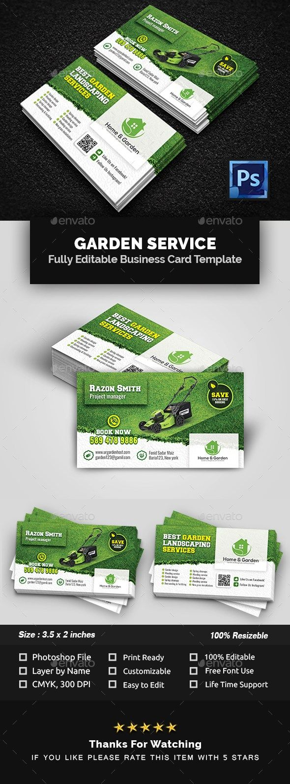 Garden Landscape Business Card Template Businesscardtemplate Businesscards Graphi Business Card Template Lawn Care Business Cards Landscaping Business Cards