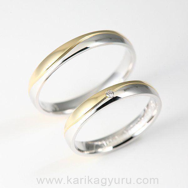 Karikagyűrű Áruház  Sárga és fehér aranyból készített 14 karátos karikagyűrű 0,015ct G/vs minősítésű briliánssal díszítve kb. 6 g.