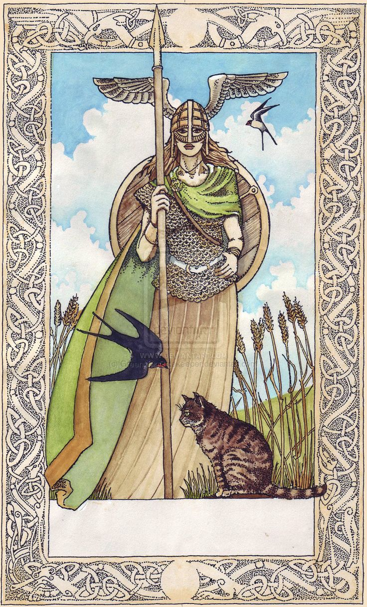 Norse Tarot - Freyja, goddess of witchcraft, beauty and sexual independence, as The Empress (3) card