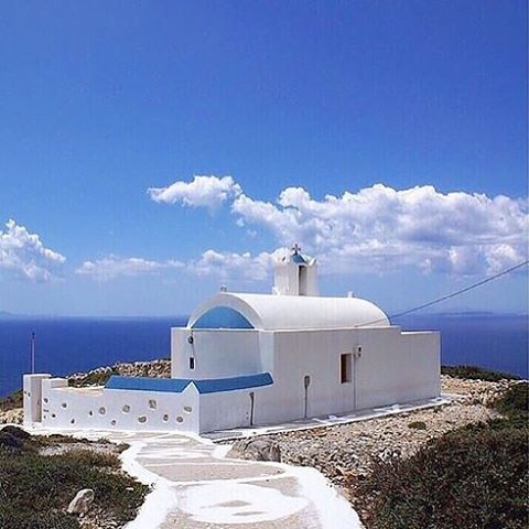 Stunning view of the Aegean Sea from the Church of Agia Sofia in Mersini village , at Donousa island (Δονούσα)