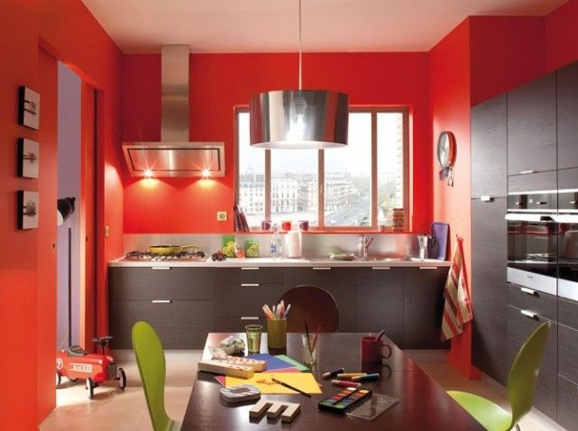 Cuisine mur rouge for the home pinterest photos d co de cuisine et cui - Cuisine mur rouge et gris ...