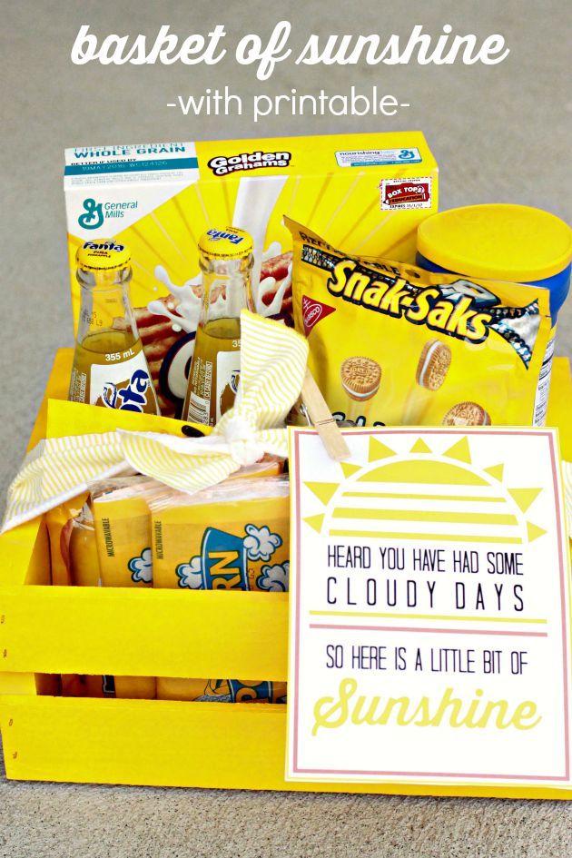 Best 25 basket of sunshine ideas on pinterest box of sunshine basket of sunshine and free printable gift tag a fun gift idea for a neighbor negle Choice Image