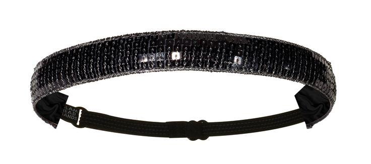 "1"" Black Sequin Non-Slip Adjustable Headband with Grip Clips"
