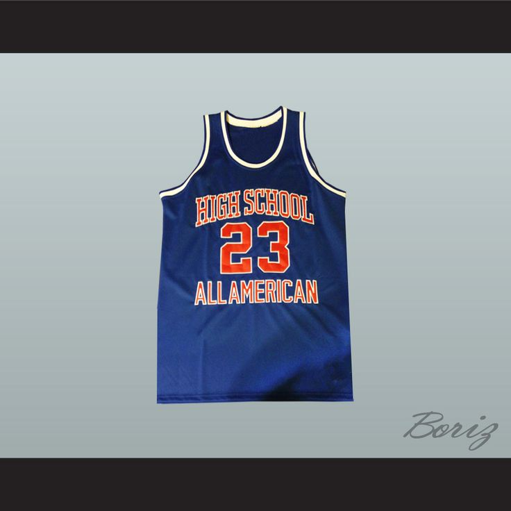 """Michael Jordan 23 High School All American Blue Basketball Jersey. STITCH SEWN GRAPHICS  CUSTOM BACK NAME CUSTOM BACK NUMBER ALL SIZES AVAILABLE SHIPPING TIME 3-5 WEEKS WITH ONLINE TRACKING NUMBER Be sure to compare your measurements with a jersey that already fits you. Please consider ordering a larger size, if you prefer a loose fit. HOW TO CALCULATE CHEST SIZE: Width of your Chest plus Width of your Back plus 4 to 6 inches to account for space for a loose fit. Example: 18"""" wide chest plus…"""