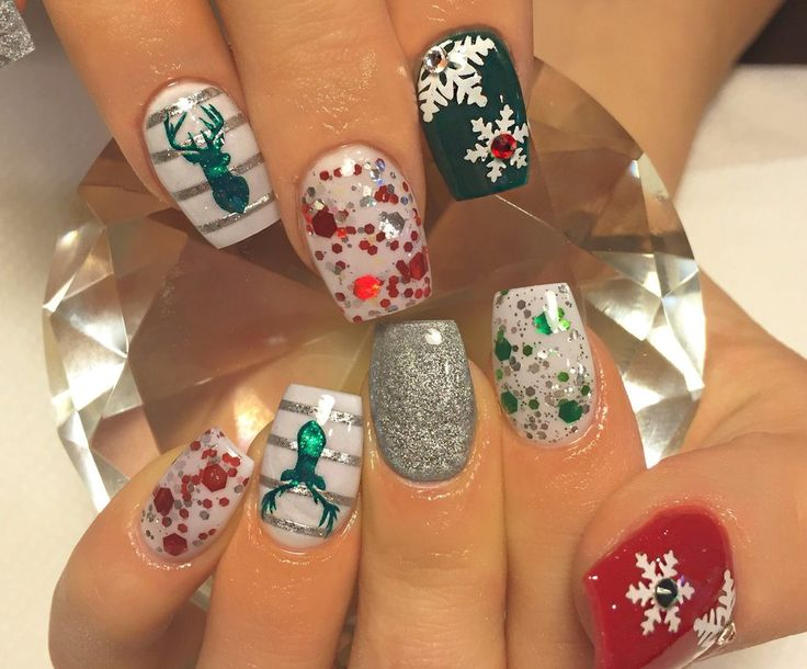 White | Cuticle Snowflakes Nail Decal | Christmas Nail Art | Christmas Nail Designs | Deer Nail Art | Snowflake Nails | Holiday Nails  Shop Nail Decals weloveglitterdesign.com