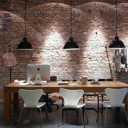 Brick wall - maybe do something like this behind bar. Possibly change pot lights to pendant lights over the bar??