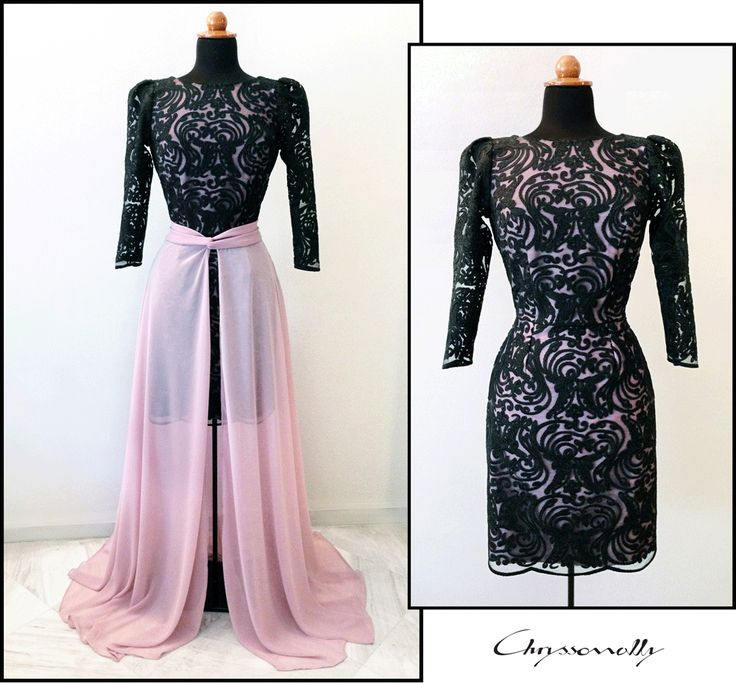SARTORIAL | Chryssomally || Art & Fashion Designer - Black and dusty pink open back lace mini dress with a georgette overlay maxi skirt