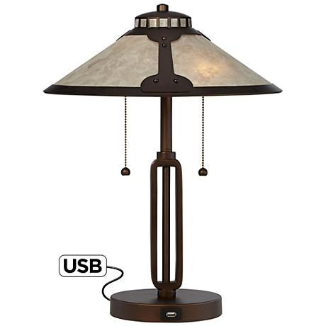 Samuel mica shade desk lamp with usb port style 6t630