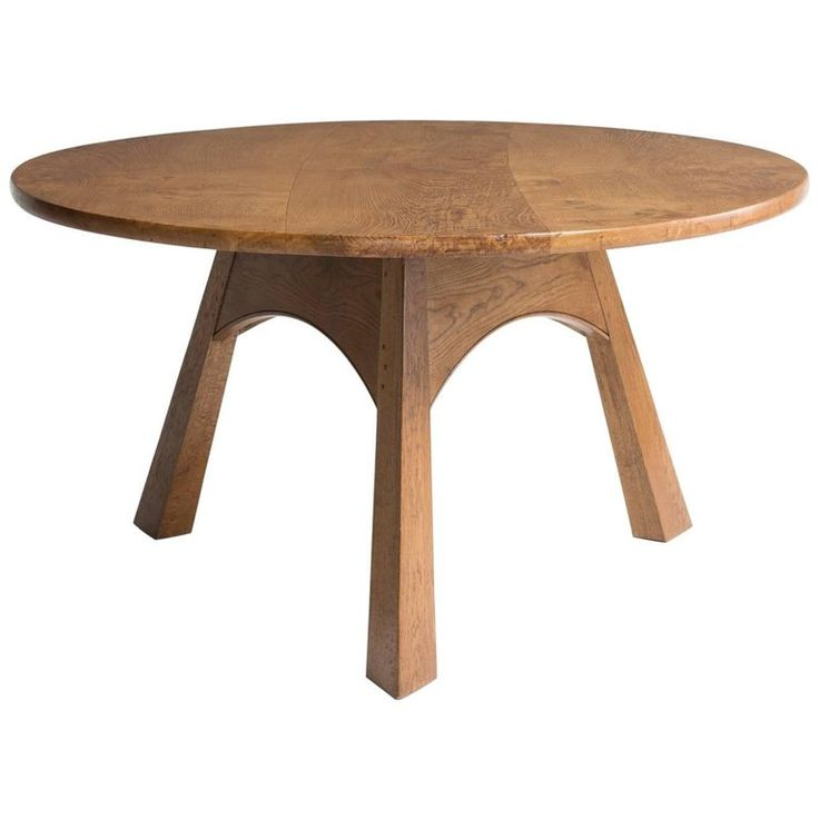 Round Oak Dining Table, circa 1930 For Sale
