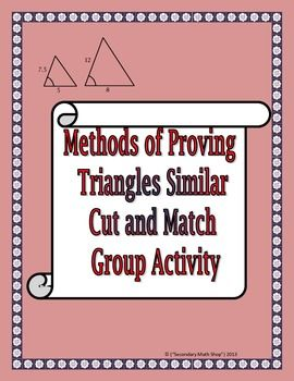 Methods Of Proving Triangles Similar Cut Match And Paste Cool