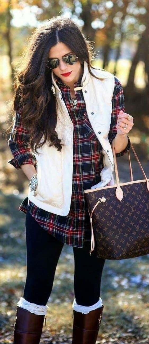 love the plaid shirt with the vest!