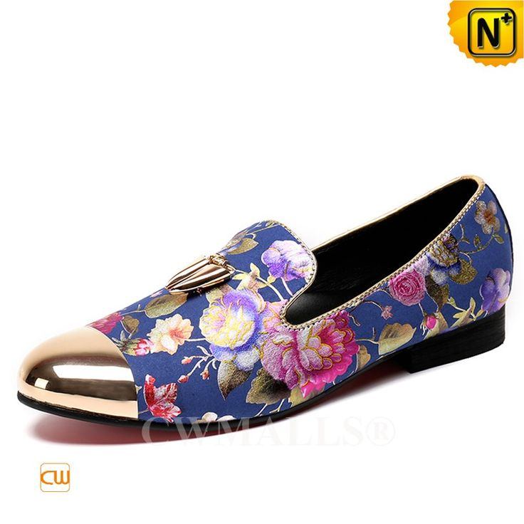 CWMALLS® Mens Printed Dress Shoes CW707253  Shop mens printed dress shoes for men, crafted from full grain leather, equipped with a slick pointed toe, decorated with a golden metal hardware details, designed with printing patterns of colorful floral, they are also comfortable with rubber outsole.  www.cwmalls.com  Email: sales@cwmalls.com