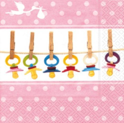 Servilletas de baby shower. http://mundobabyshower.cl/servilletas-baby-soothers-rosa