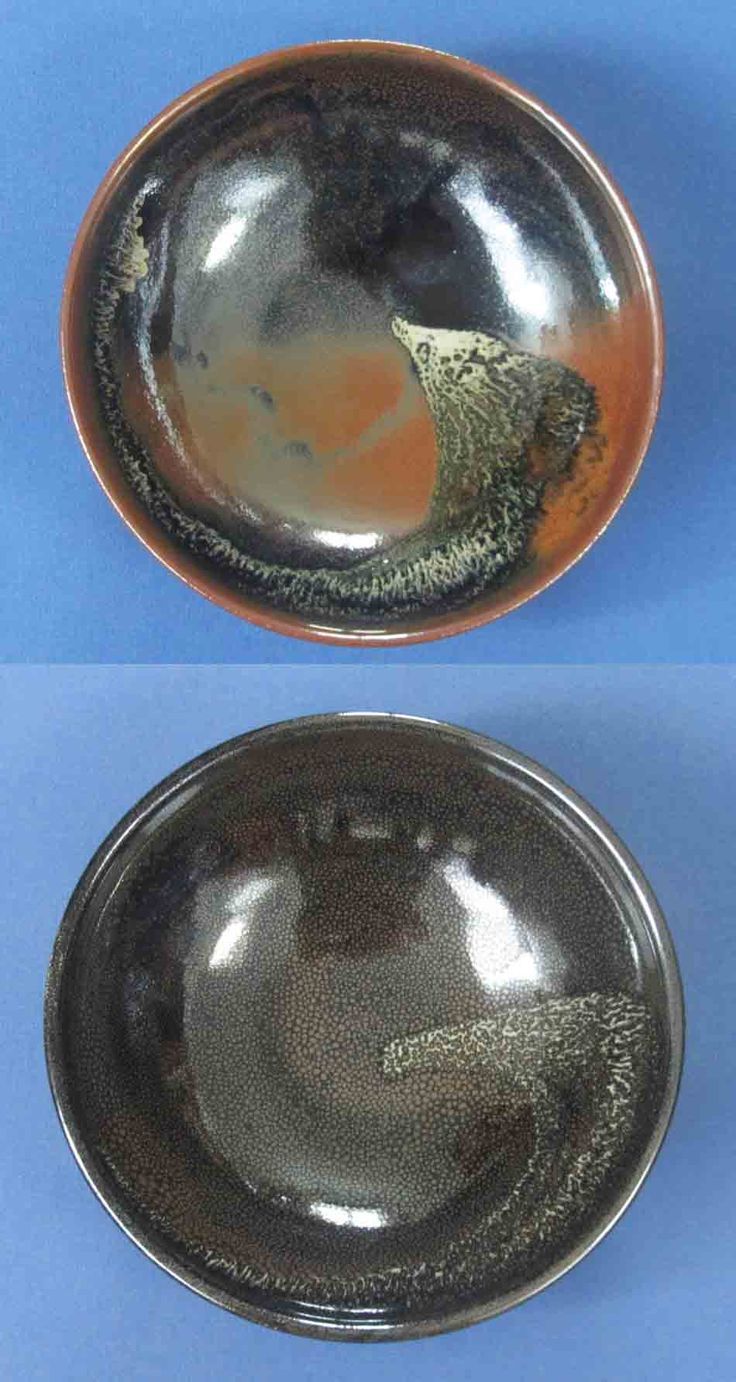 Why oilspot glazes are so tricky. Here are 2 oilspot bowls, same glaze and splash, but the upper one partially reduced (which can be beautiful)