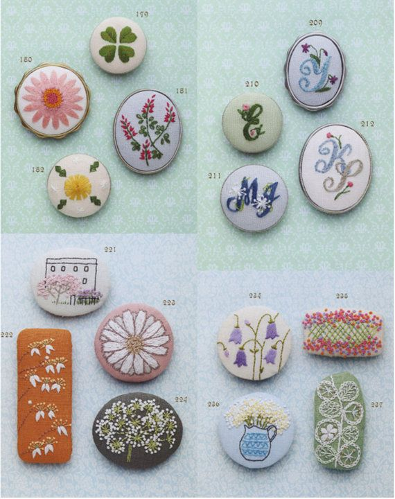Small Cute Flowers Embroidery Brooch Patterns by PinkNelie