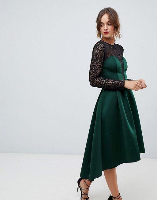 e7893135622f74 ASOS DESIGN long sleeve lace top prom midi dress