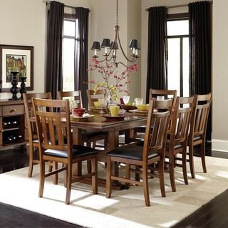 7 Pc Kirtland Collection Warm Oak Finish Wood Dining Table Set With Vinyl Top Seats