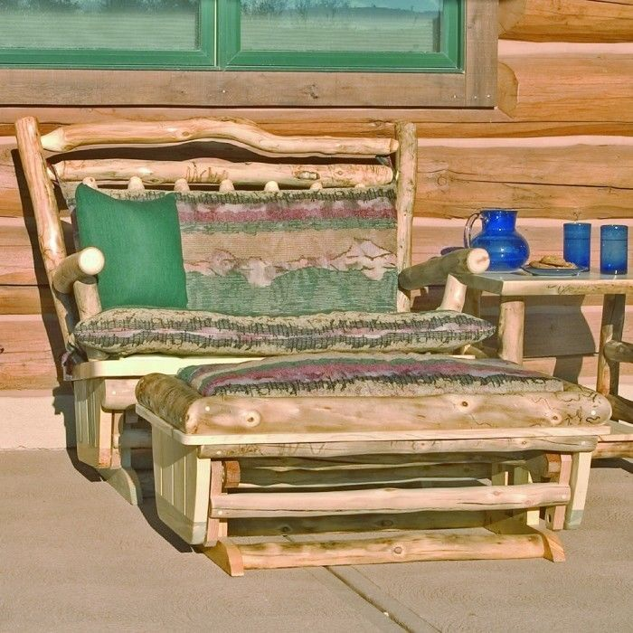 Rustic Glider/Rocker Loveseat with Ottoman - Country Living Room Furniture Decor #Country