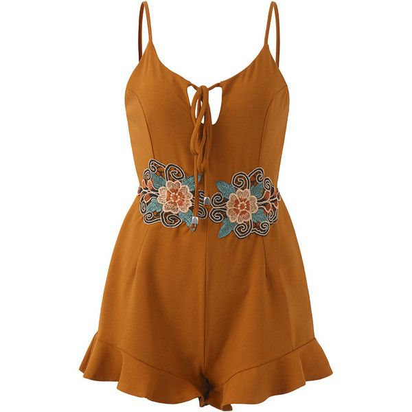 Bohemian Women Embroidered Spaghetti Strap Short Jumpsuits (64 INR) ❤ liked on Polyvore featuring jumpsuits, playsuit romper, spaghetti strap jumpsuit, boho romper, short romper and short romper jumpsuit