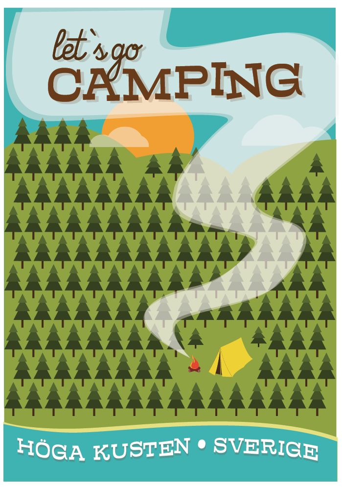 Postcard A5, Let's go Camping, The High Coast. Artist Pawel Maronski